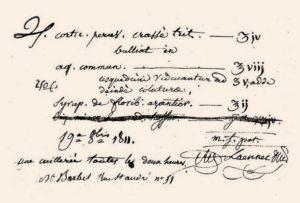 3-Receta médica firmada por Laennec